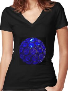 Crystal Blue Women's Fitted V-Neck T-Shirt