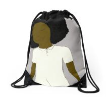 "Grey Background - Girl from Children's Book ""Five Birds on a Wire"" Drawstring Bag"