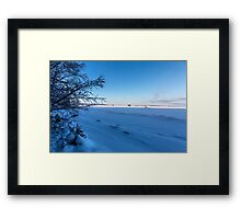 Frozen lake and blue sky Framed Print