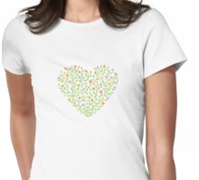Flowery heart Womens Fitted T-Shirt