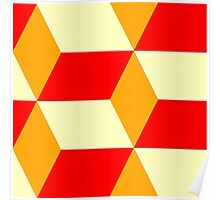 Red&Yellow Cube Pattern Poster