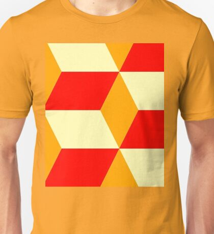 Red&Yellow Cube Pattern Unisex T-Shirt