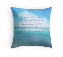 Sea ocean quote by Henry Wadsworth Longfellow Throw Pillow