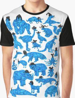 Blue Animals, Black Hats Graphic T-Shirt