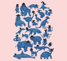 Blue Animals, Black Hats One Piece - Long Sleeve