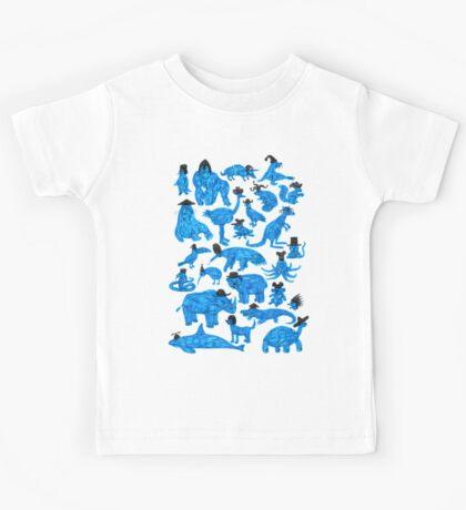 Blue Animals, Black Hats Kids Tee