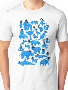 Blue Animals, Black Hats Unisex T-Shirt