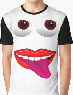 Smiling Mouth With Tongue Out and Brown Eyes Graphic T-Shirt