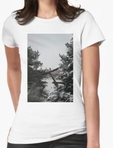 Heron Perched on Log Womens Fitted T-Shirt