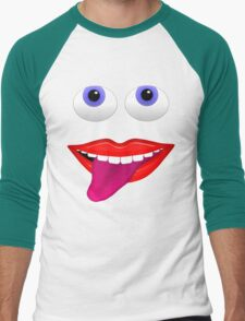 Smiling Mouth With Tongue Out and Blue Eyes Men's Baseball ¾ T-Shirt