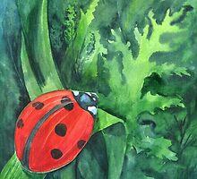 Red cute ladybird sitting on a leaf of grass by farawayart
