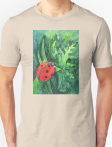 Red cute ladybird sitting on a leaf of grass Unisex T-Shirt