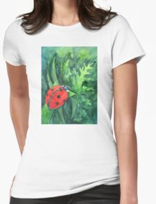Red cute ladybird sitting on a leaf of grass Womens Fitted T-Shirt
