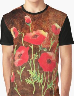 Decorative Red Poppies Graphic T-Shirt