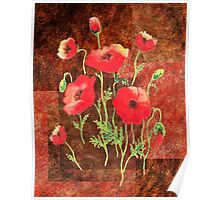 Decorative Red Poppies Poster