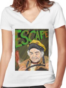 Cabbie's Escape! Women's Fitted V-Neck T-Shirt