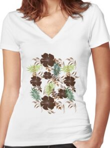 Floral Pattern #27  Women's Fitted V-Neck T-Shirt