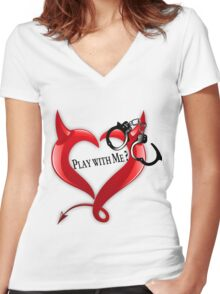Devil Heart and Handcuffs Women's Fitted V-Neck T-Shirt
