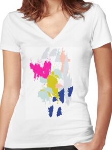 Acrylic paint brush strokes. Women's Fitted V-Neck T-Shirt