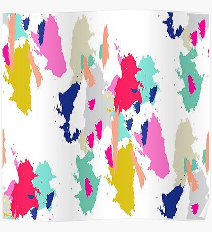 Acrylic paint brush stroke pattern. Poster
