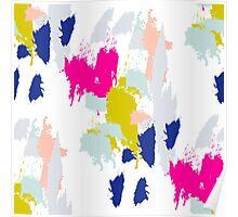 Gouache paint brush stroke pattern. Poster