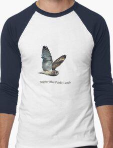 Flying Short-eared Owl - Support Our Public Lands Men's Baseball ¾ T-Shirt