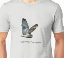 Flying Short-eared Owl - Support Our Public Lands Unisex T-Shirt