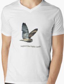Flying Short-eared Owl - Support Our Public Lands Mens V-Neck T-Shirt
