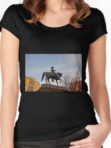 Statue of Horse and Rider Women's Fitted Scoop T-Shirt