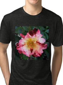 Red and White ROse Tri-blend T-Shirt