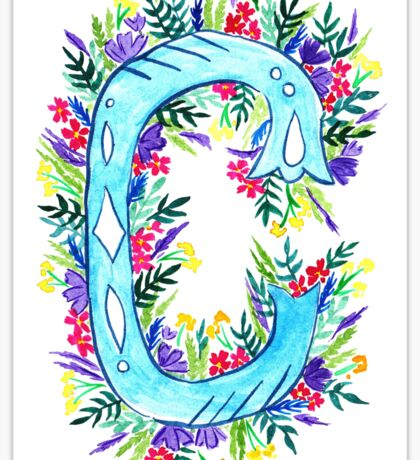 Letter C Illustrated Watercolor Wildflowers Sticker
