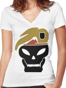 Rambo skull Women's Fitted V-Neck T-Shirt