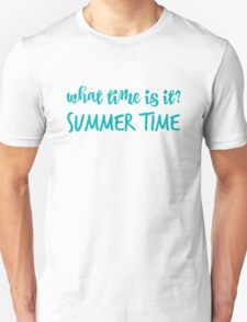 What time is it? in blue Unisex T-Shirt