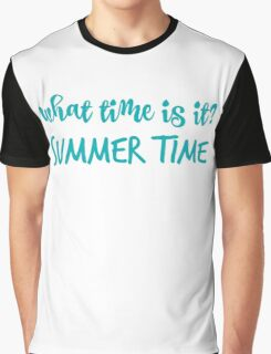 What time is it? in blue Graphic T-Shirt