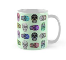 Skull Hearts Love Death Goth Dark Green Halloween Day of Dead Mug