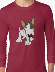 Bull Terrier Eye Patch Pup White & Greens Long Sleeve T-Shirt