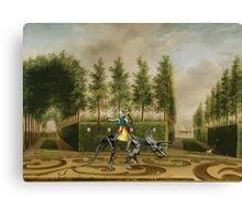 A Formal Garden with Dino Rider Canvas Print