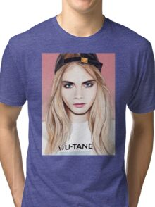 Cara Delevingne pencil portrait fanart Tri-blend T-Shirt