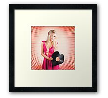 Smiling DJ Woman In Love With Retro Music Framed Print