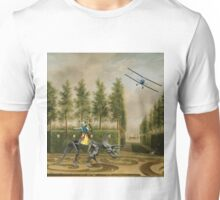 A Formal Garden with Dino Rider and Biplane Unisex T-Shirt