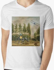 A Formal Garden with Dino Rider and Biplane Mens V-Neck T-Shirt