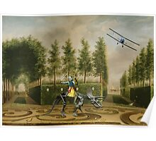 A Formal Garden with Dino Rider and Biplane Poster