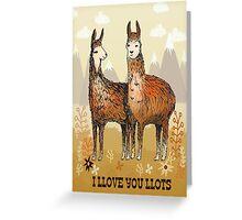 llove llamas - lots of love valentines card  Greeting Card