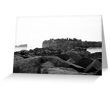 Foggy Harbor North Shore 2 Bw Greeting Card