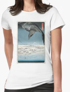 Raven Over Winter Landscape Womens Fitted T-Shirt