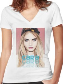 Cara Delevingne pencil portrait 2 Women's Fitted V-Neck T-Shirt