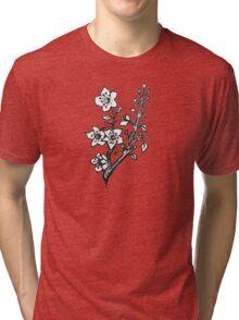 Cherry Blossoms Black & White  Tri-blend T-Shirt