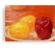 Fruit on Plate Still Life Canvas Print