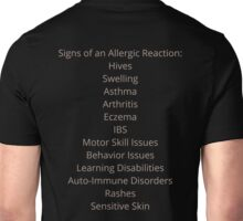 Allergy Awareness: Reaction Signs Taupe Unisex T-Shirt