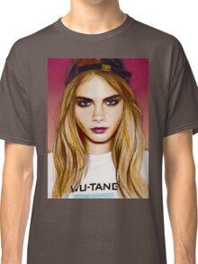 Cara Delevingne pencil portrait 4 Classic T-Shirt